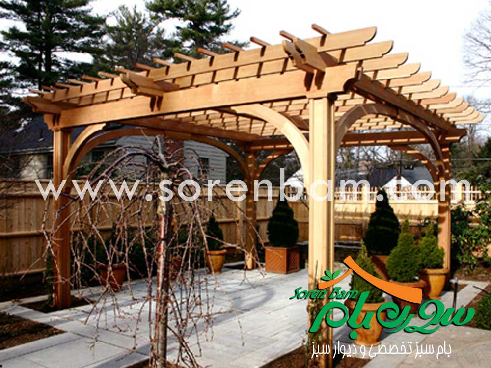 آلاچیق چوبی و باغی
