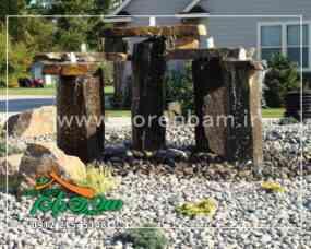 اجرای آبنمای سنگی ایستاده در محوطه سازی