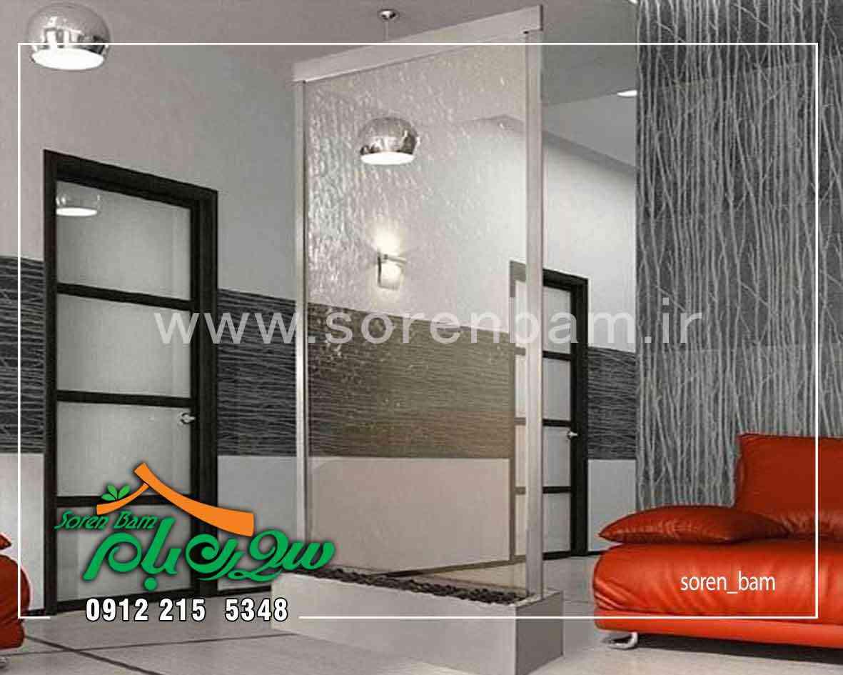طراحی و اجرای آبنمای شیشه ای در فضای داخلی