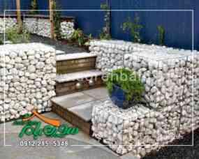 اجرای گابیون با سنگ قلوه سفید در محوطه باغ